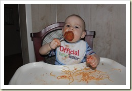 Aidan eating his Mama Mancini Meatball