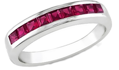 4/5 Carat Created Ruby Sterling Silver Ring