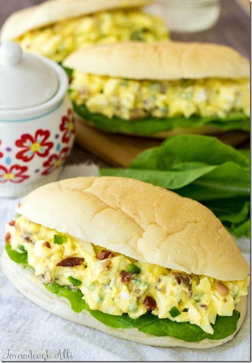 Jalpeno Bacon Deviled Egg Salad Sandwiches